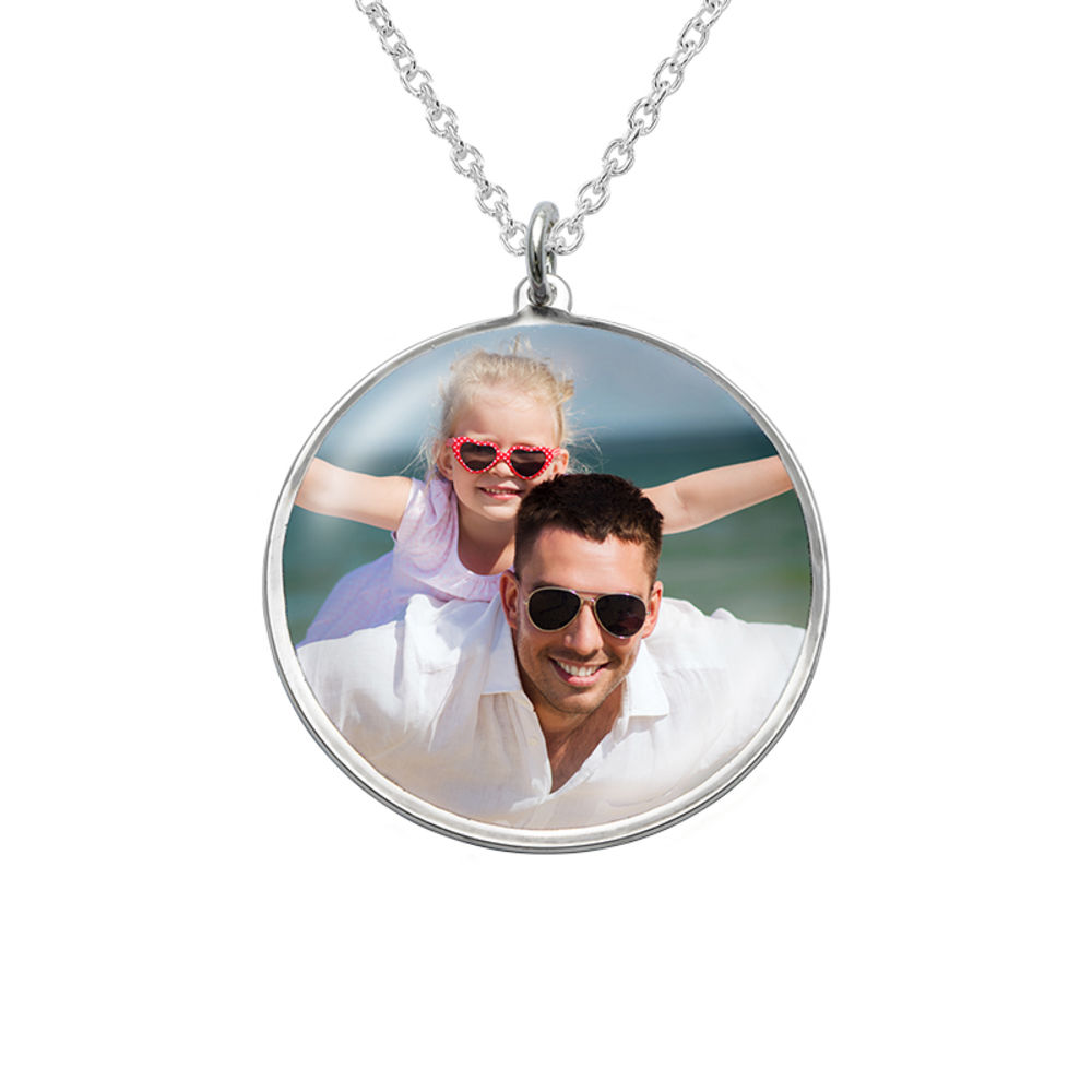 Round Pendant with Photo necklace in Sterling Silver