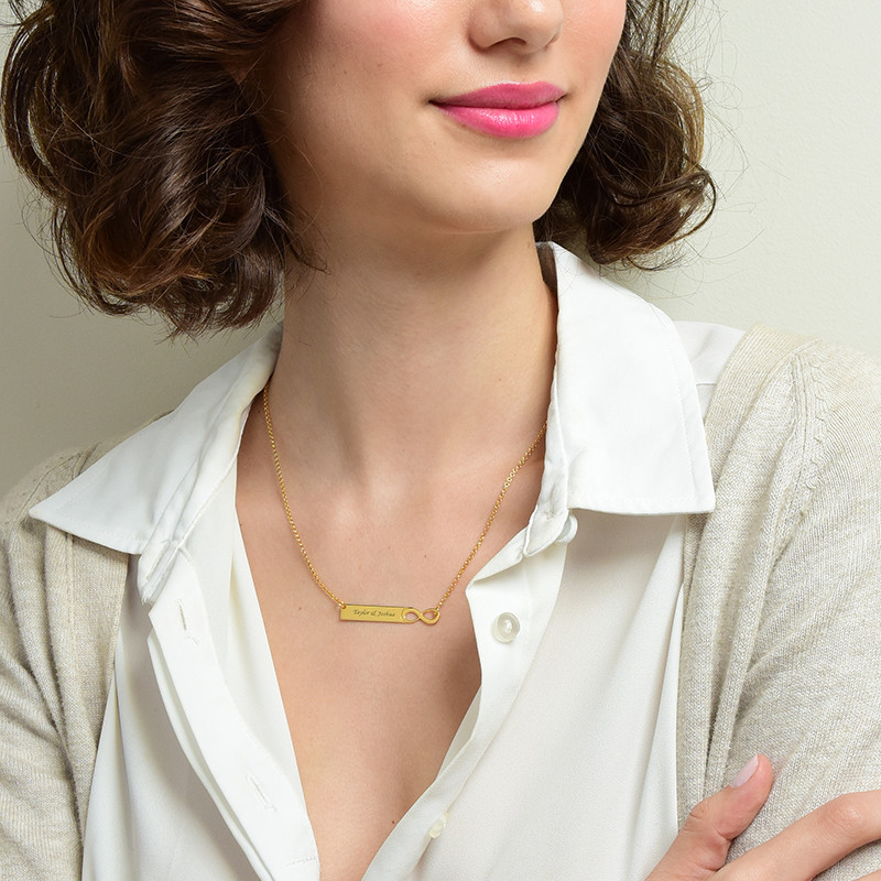 Infinity Bar Necklace with Engraving - 18K Gold Plated - 1