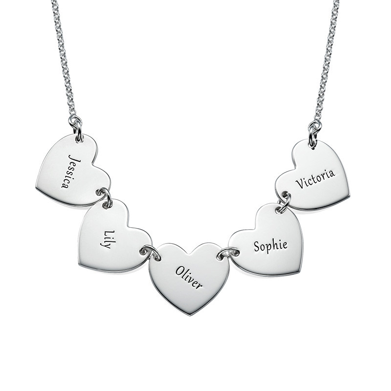 Mother Necklace with Kids Names - Heart Shaped - 1