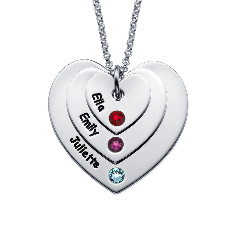 Birthstone Heart Necklace for Moms