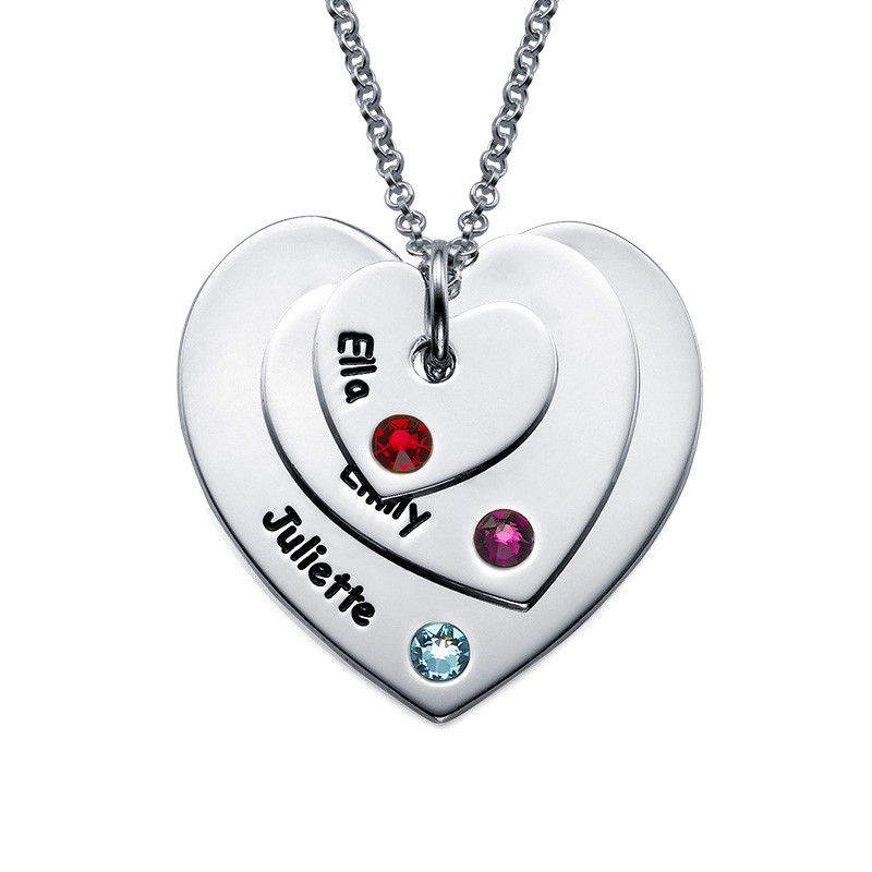 Birthstone Heart Necklace for Moms - 1