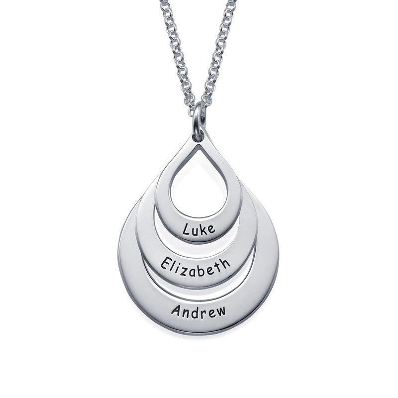 Engraved Family Necklace  Drop Shaped