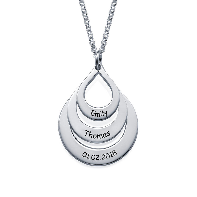 Engraved Family Necklace  Drop Shaped - 2