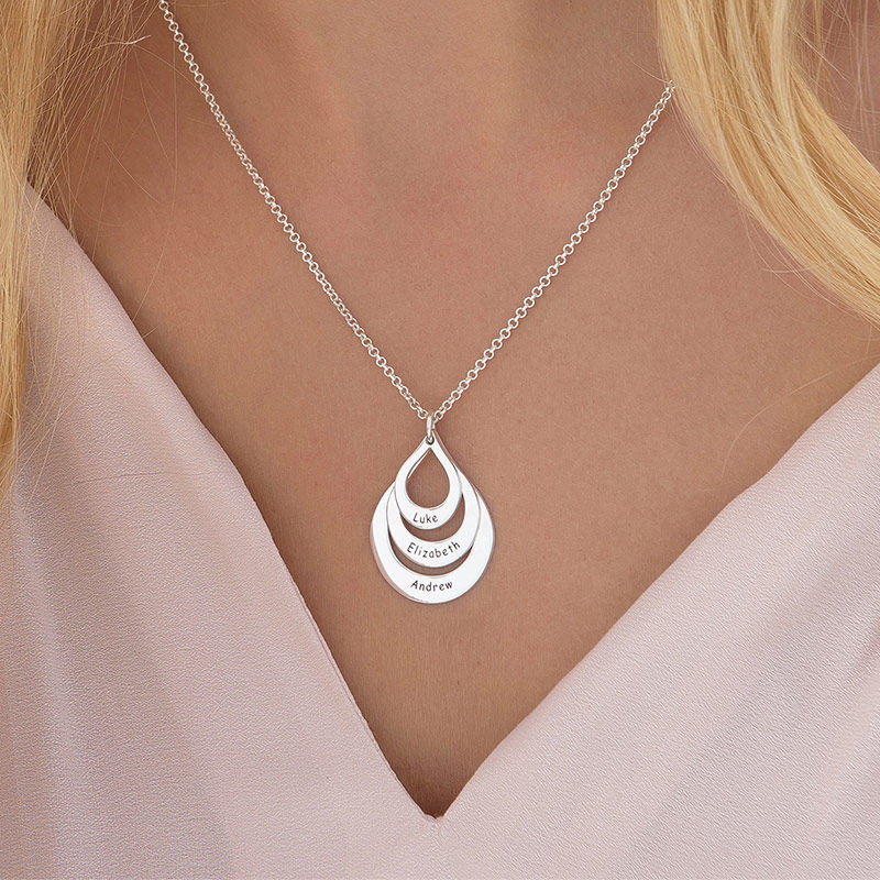 Engraved Family Necklace  Drop Shaped - 5