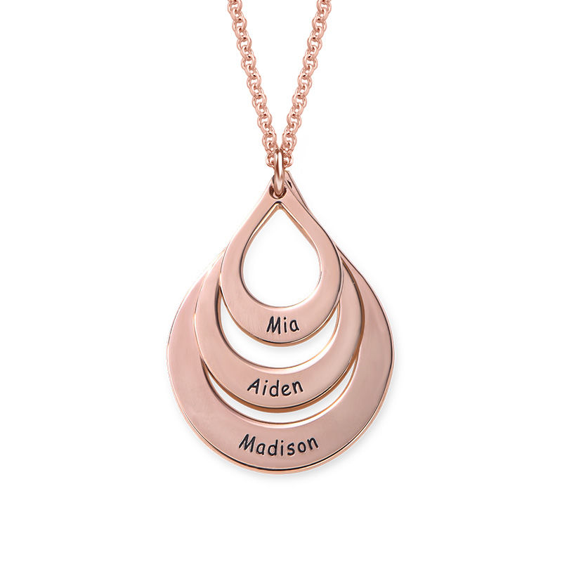 Engraved Family Necklace Drop Shaped in Rose Gold Plating