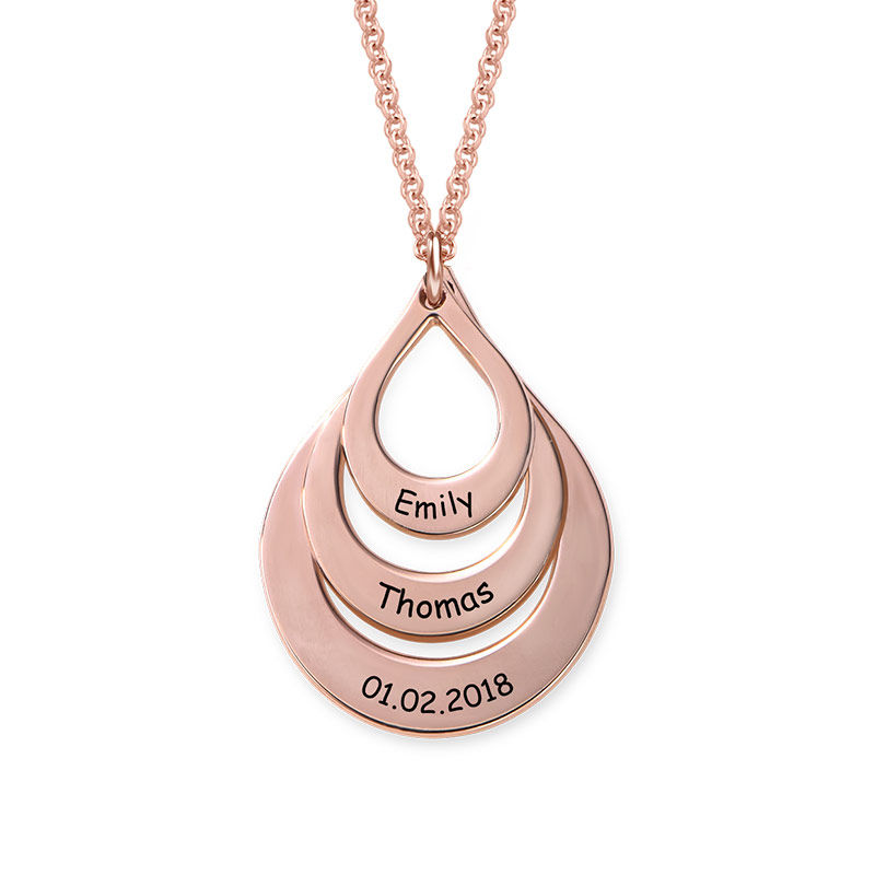 Engraved Family Necklace Drop Shaped in Rose Gold Plating - 2