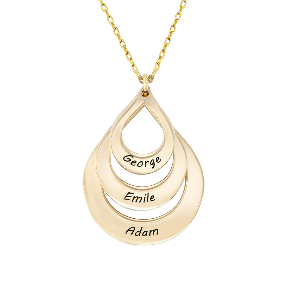 Engraved Family Necklace Drop Shaped in Gold 10K