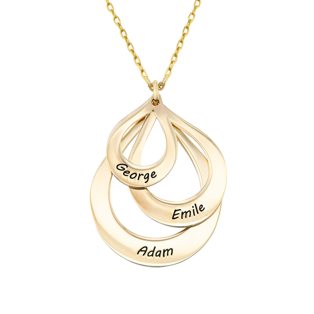 Engraved Family Necklace Drop Shaped in Gold 10K - 1