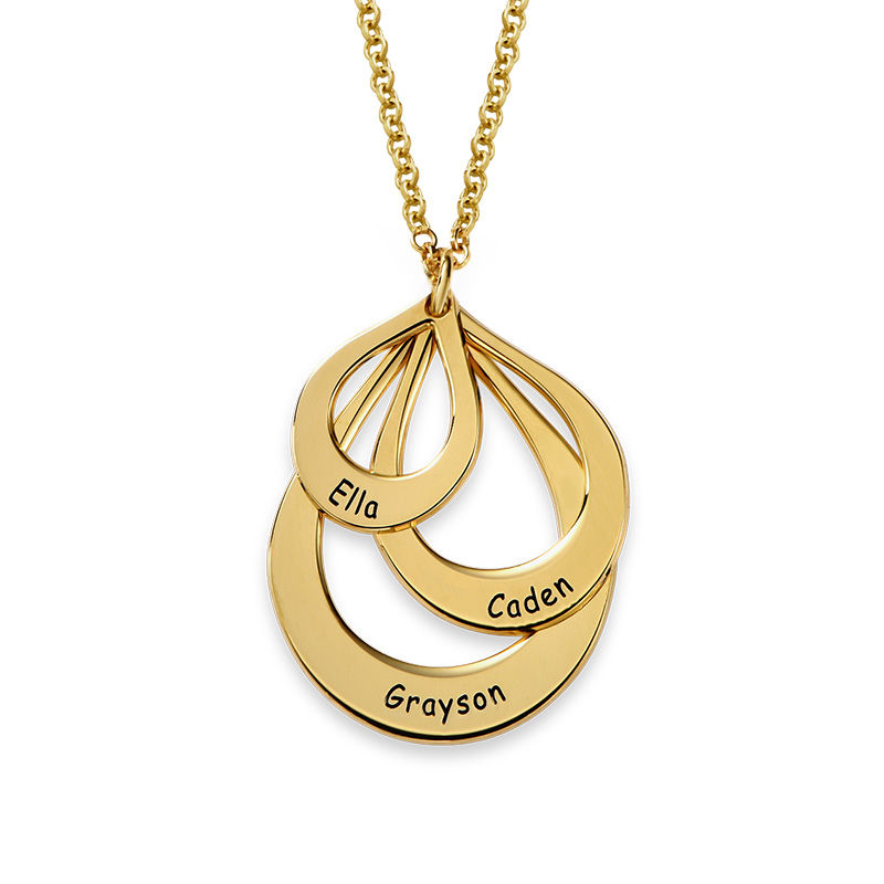Engraved Family Necklace Drop Shaped in 18k Gold Vermeil - 1
