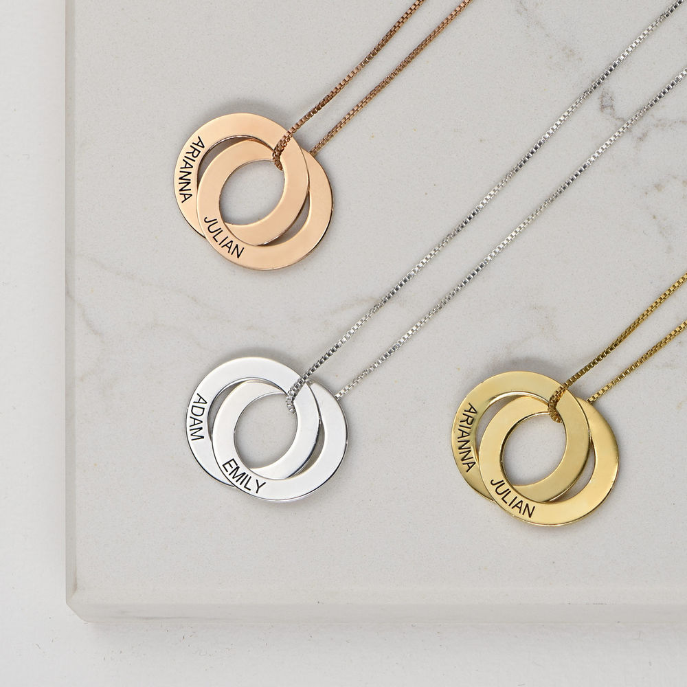 Russian Ring Necklace with 2 Rings - Rose Gold Plated - 1