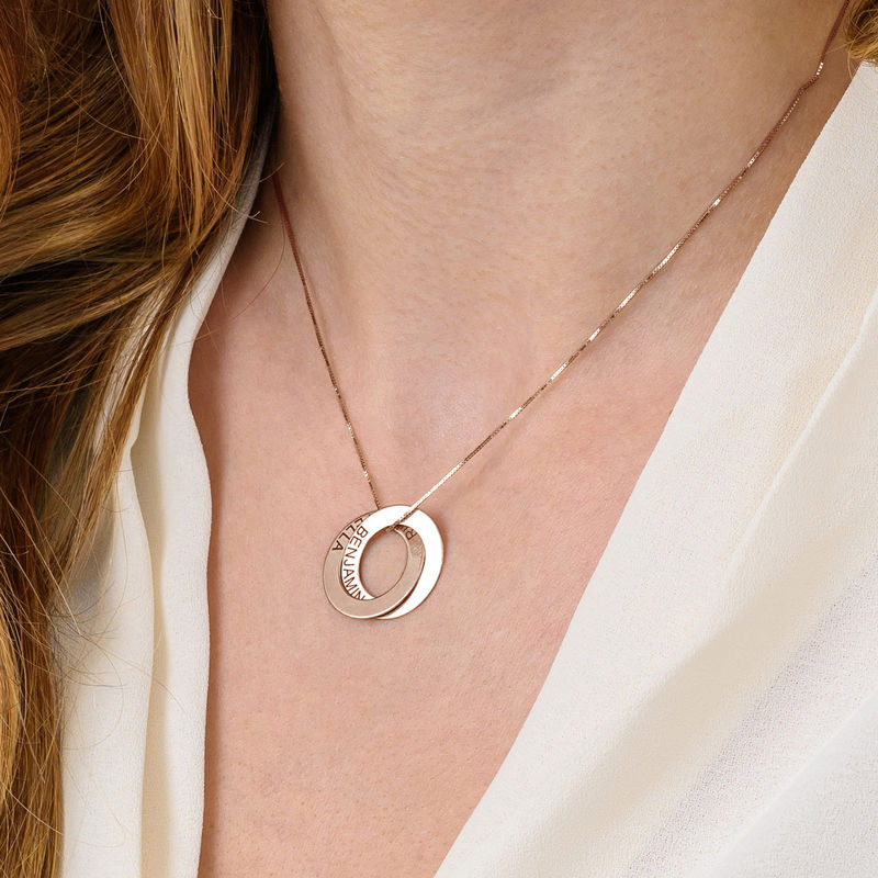 Russian Ring Necklace with 2 Rings - Rose Gold Plated - 5