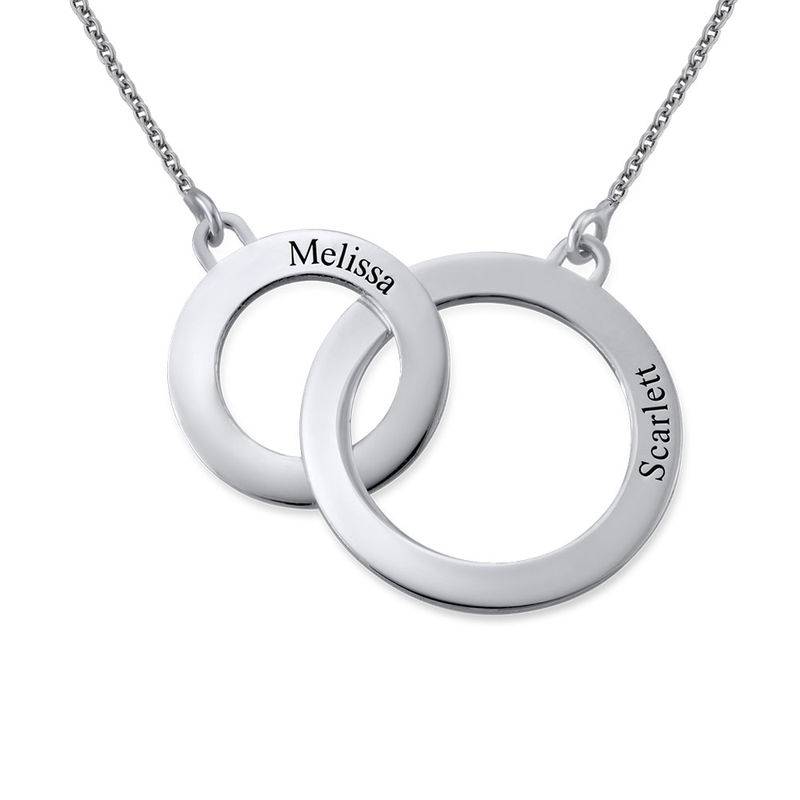 Engraved Eternity Circles Necklace in Silver