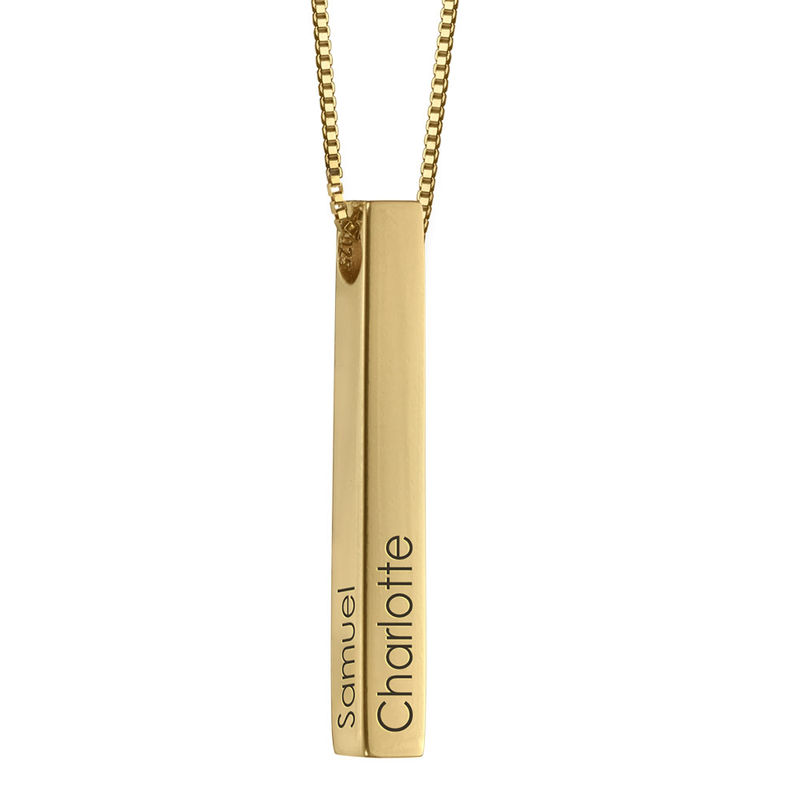 Dimensional Love 3D Bar Necklace in Gold Vermeil
