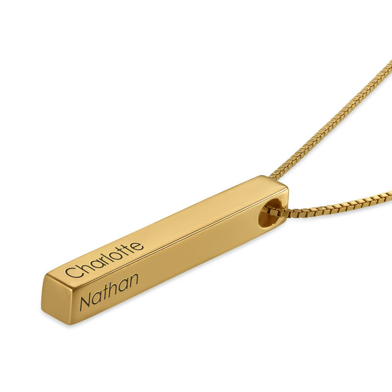 Dimensional Love 3D Bar Necklace in Gold Vermeil - 1