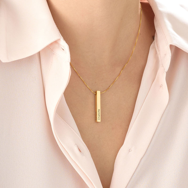 Dimensional Love 3D Bar Necklace in Gold Vermeil - 3