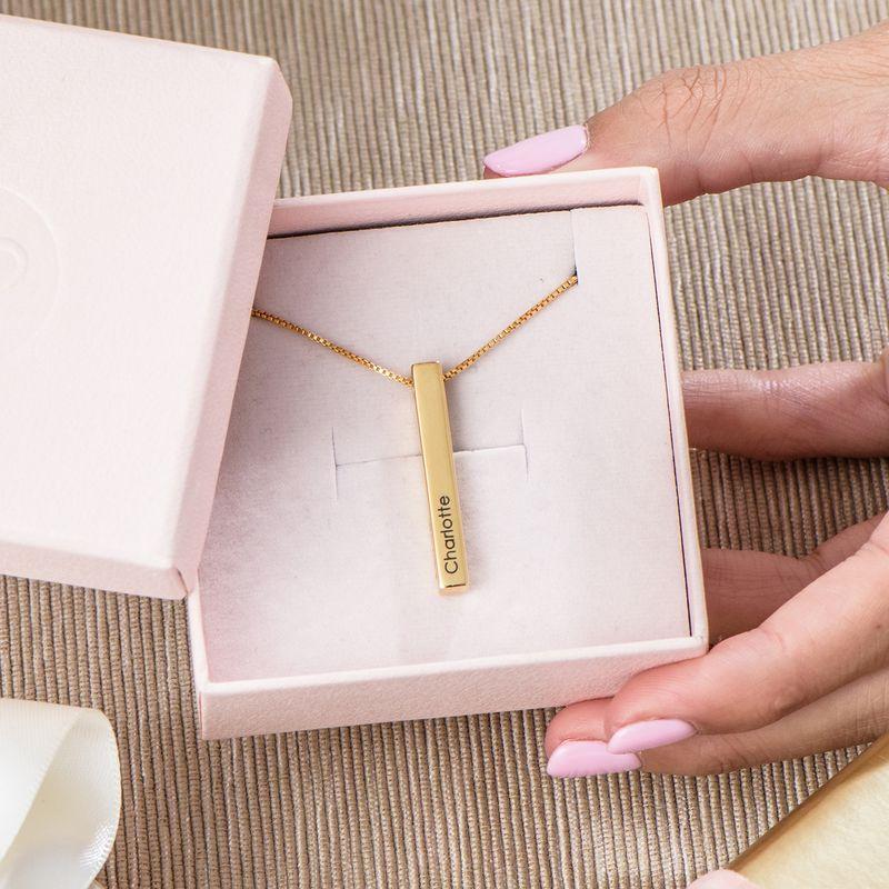 Dimensional Love 3D Bar Necklace in Gold Vermeil - 4
