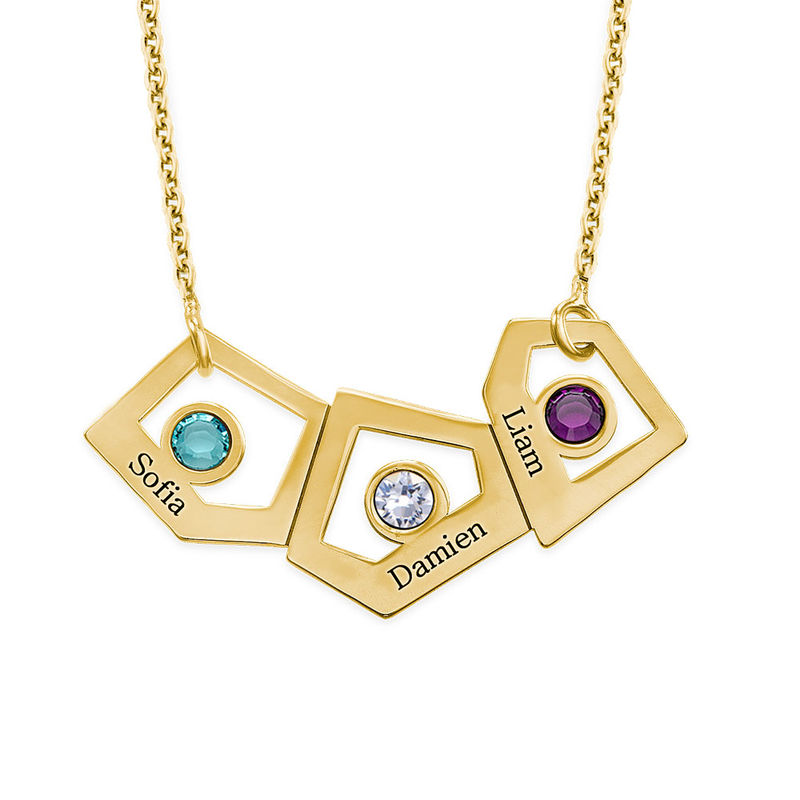 Gold Plated Geometric Mothers Necklace with Birthstones