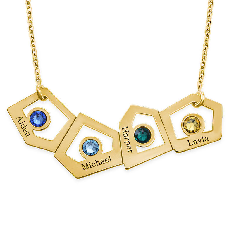 Gold Plated Geometric Mothers Necklace with Birthstones - 1