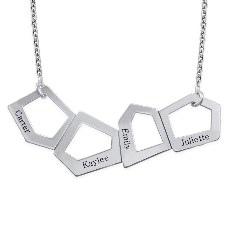 Geometric Necklace for Moms with Engraving in Silver