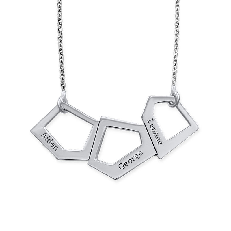 Geometric Necklace for Moms with Engraving in Silver - 1