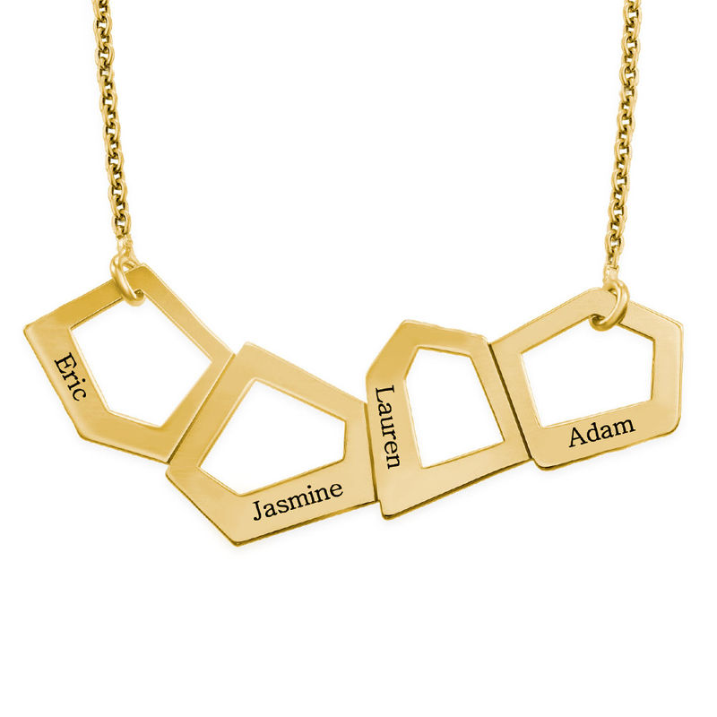Geometric Necklace for Moms with Engraving in Gold Plating