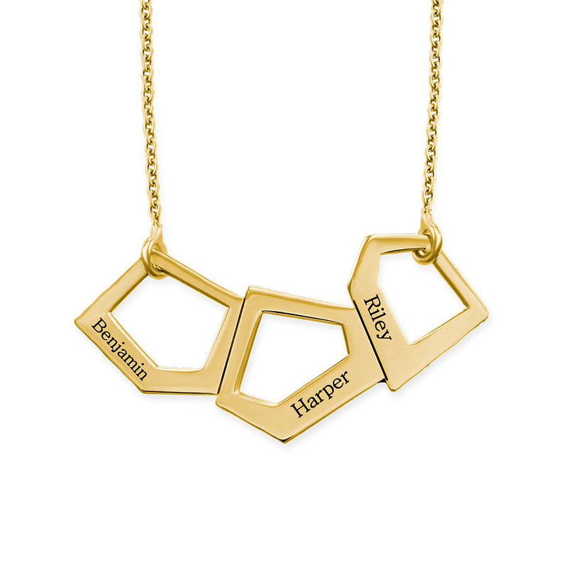 Geometric Necklace for Moms with Engraving in Gold Plating - 1