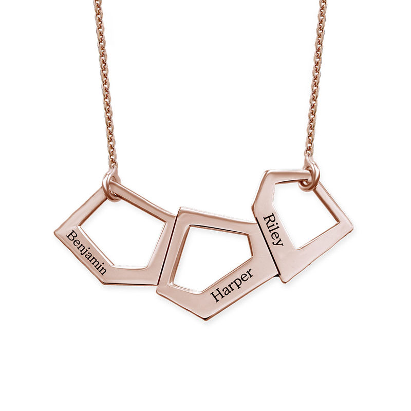 Geometric Necklace for Moms with Engraving in Rose Gold Plating - 1