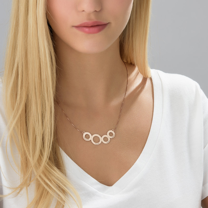 Engraved Circles Necklace with Rose Gold Plating - 2
