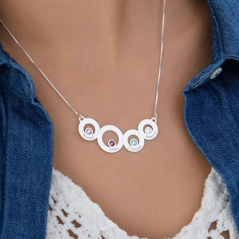 Circles Necklace with Engraving and Birthstones in Sterling Silver - 3