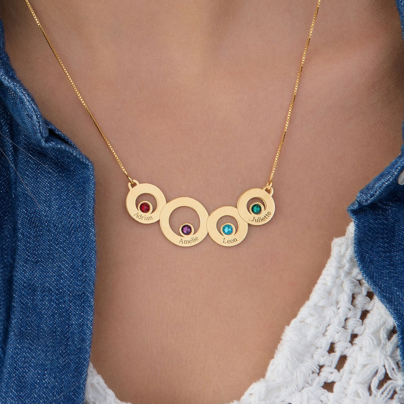 Gold Plated Circles Necklace with Engraving and Birthstones - 2