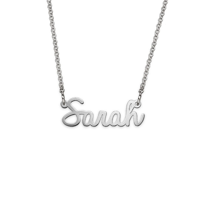 Tiny Personalized Cursive Name Necklace in Silver