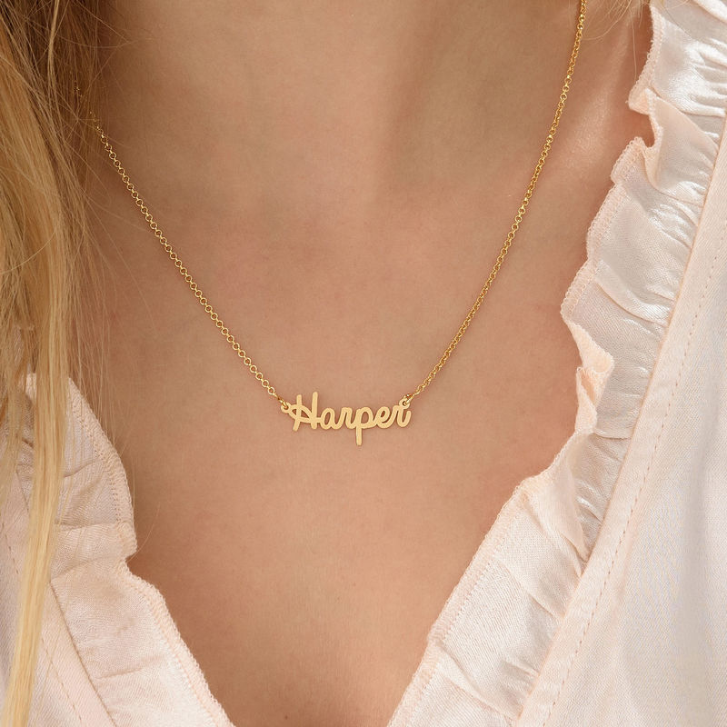 Tiny Personalized Jewelry - Cursive Name Necklace in 18k Gold Plating - 2