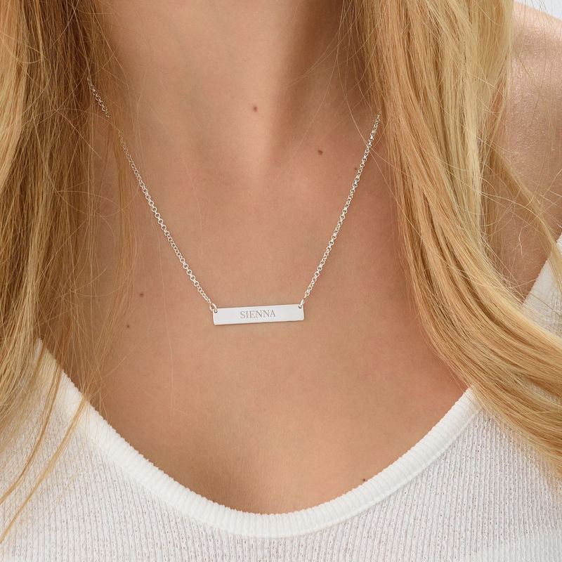Tiny Silver Engraved Bar Necklace - 2