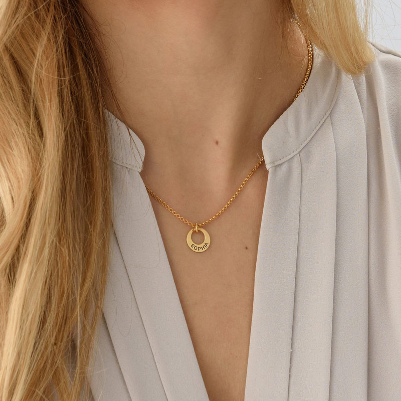 Tiny Gold Plated Mini Disc Necklace - 2