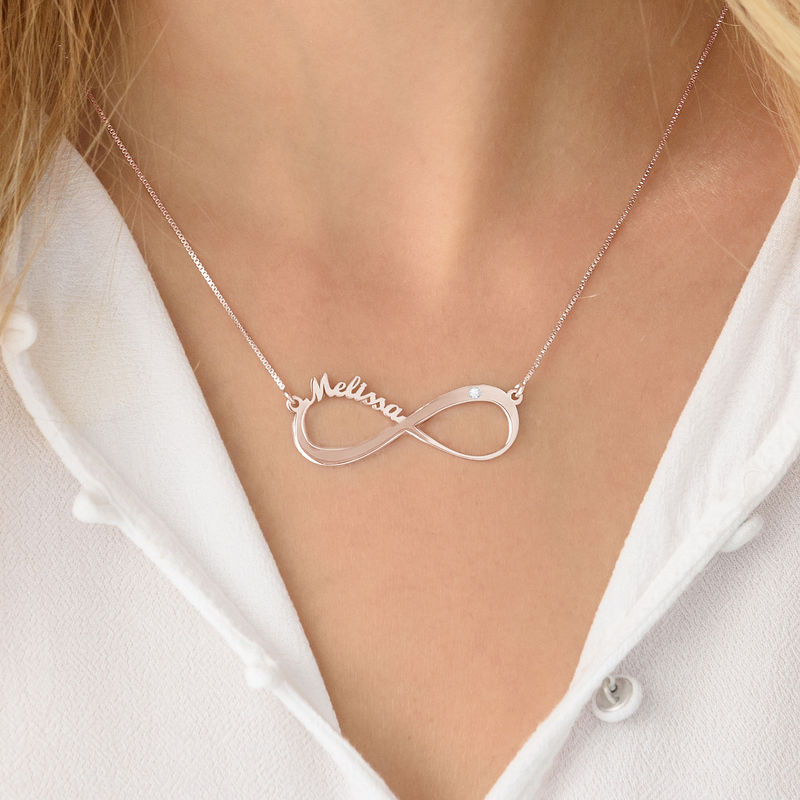 Infinity Name Necklace Rose Gold Plated with Diamond - 3