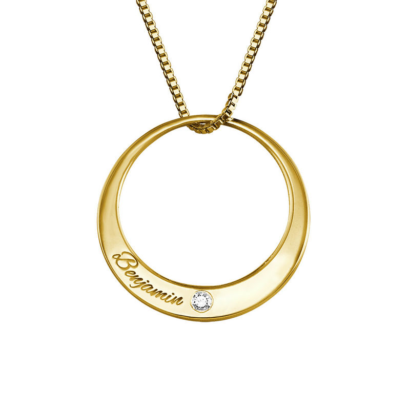Circle Gold Plated Necklace with Diamond - 1