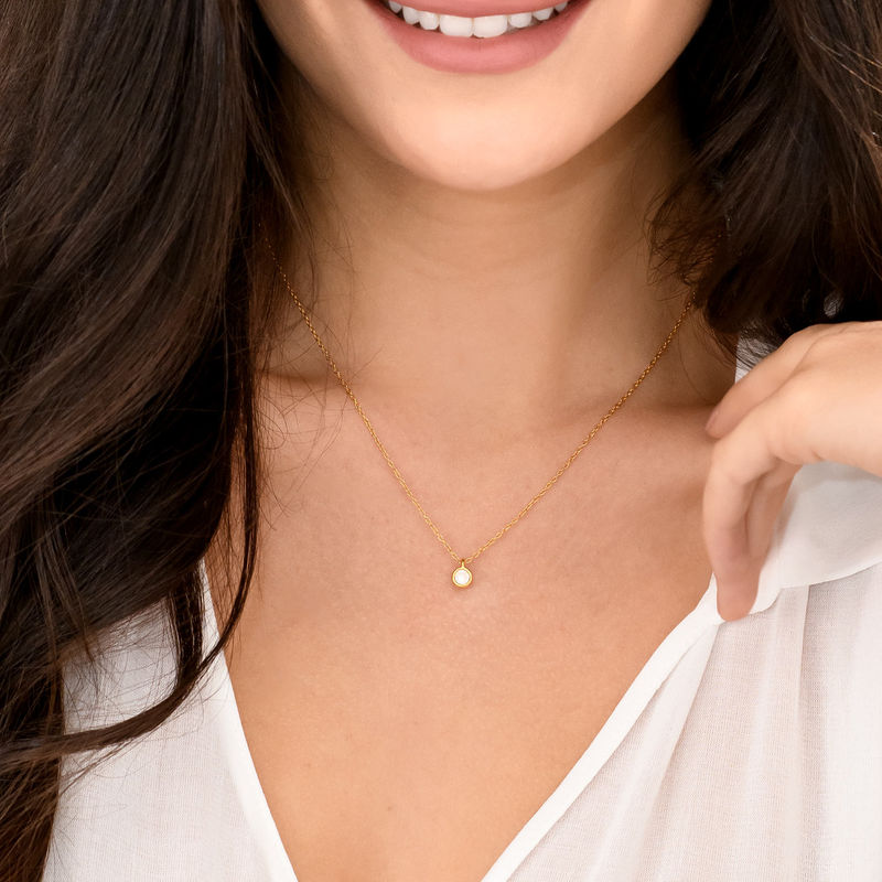 Cubic Zirconia Solitaire Necklace in Gold Plated - 1