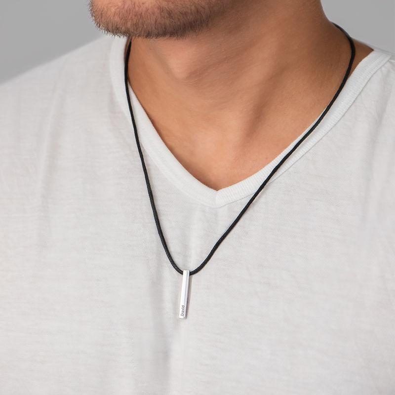 Engraved 3D Bar Name Necklace for Men in Sterling Silver - 2