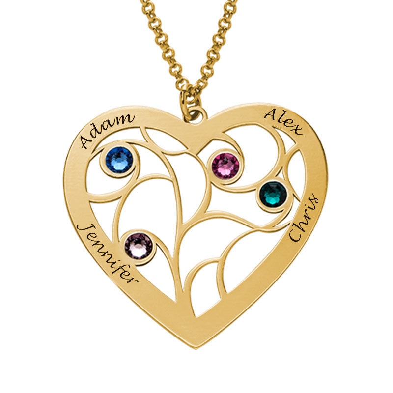 Heart Family Tree Necklace with birthstones in Gold Plating - 2