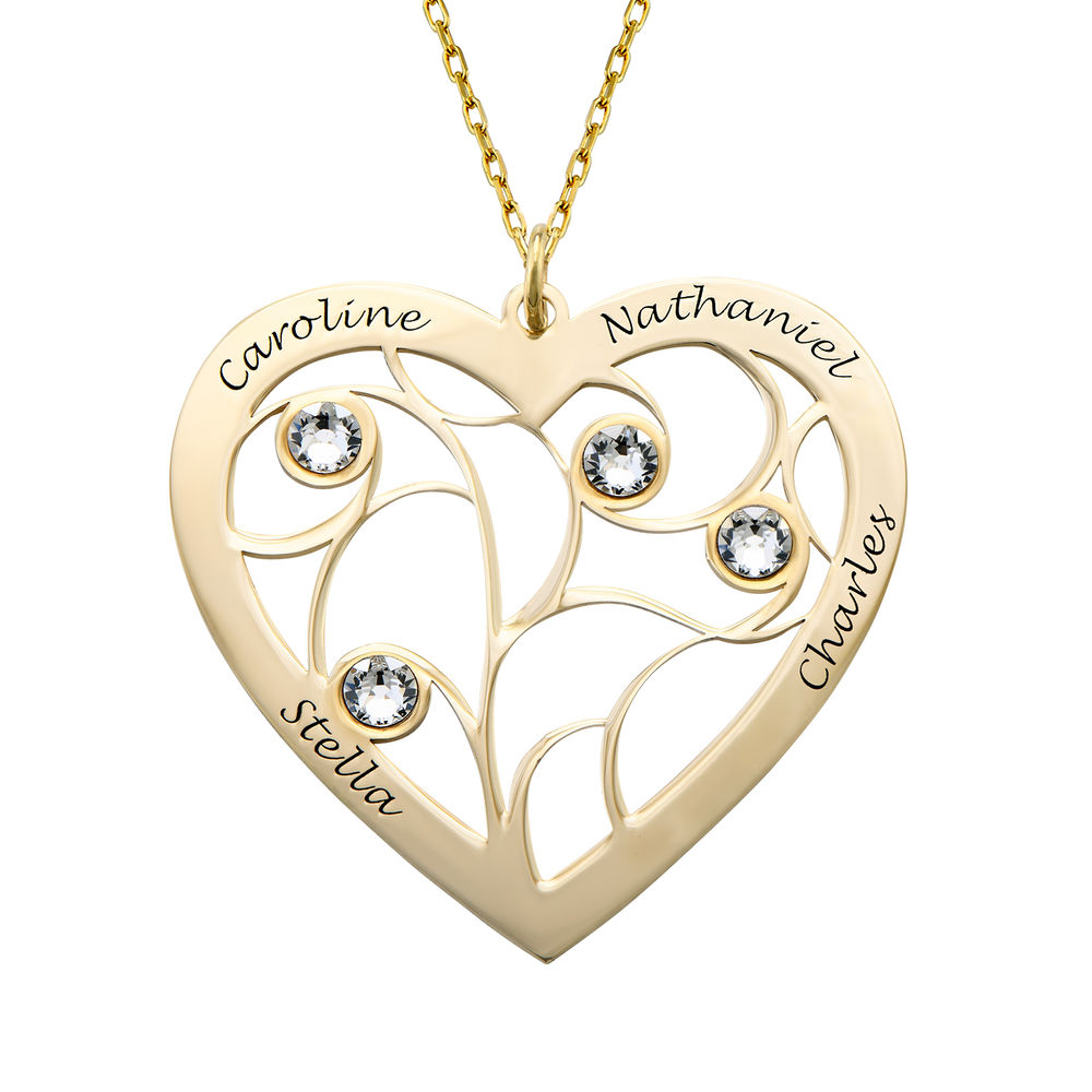 Heart Family Tree Necklace with Birthstones in Gold 10k