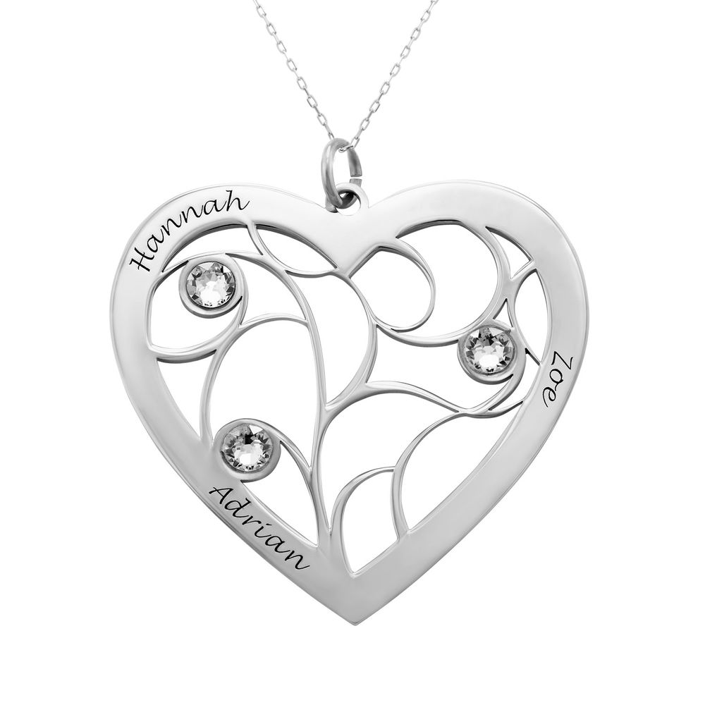 Heart Family Tree Necklace with Birthstones in White Gold 10k