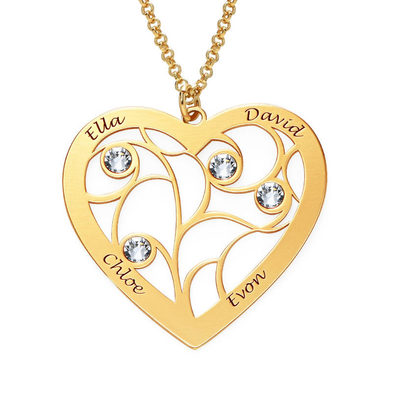 Heart Family Tree Necklace with Birthstones in Vermeil - 1