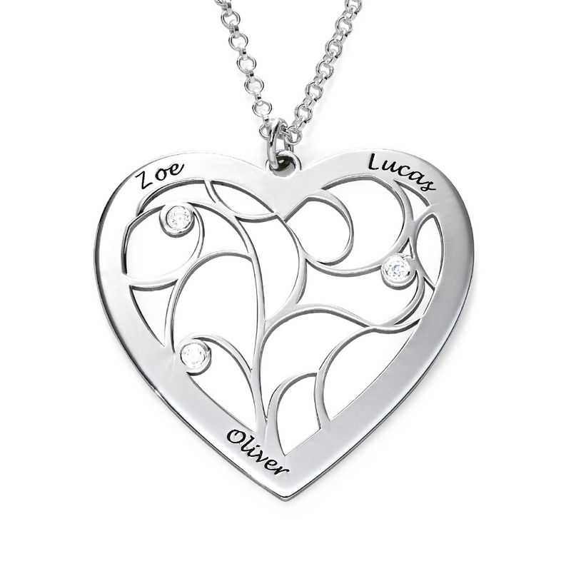 Heart Family Tree Necklace with Diamonds in Sterling Silver