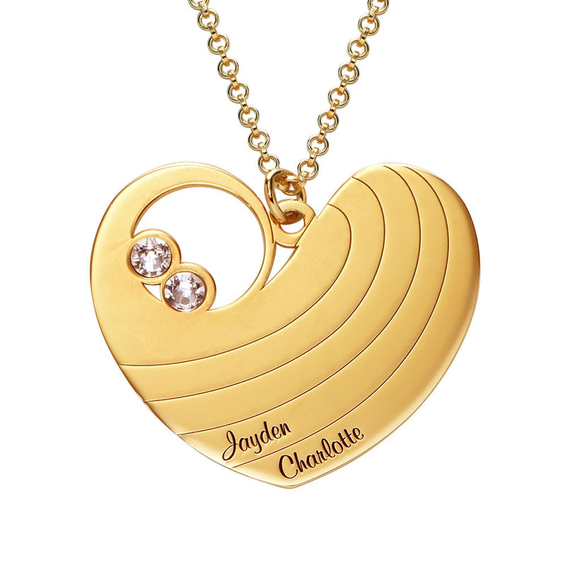 Mother Heart Necklace with Birthstones in Gold Plating - 1