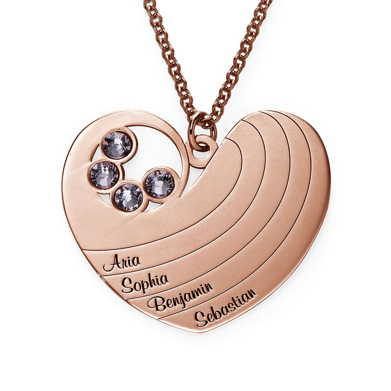 Mother Heart Necklace with Birthstones in Rose Gold Plating - 1
