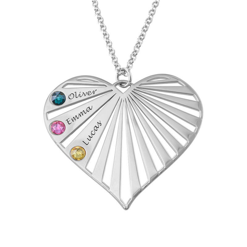 Family Necklace with birthstones in Silver Sterling - 2