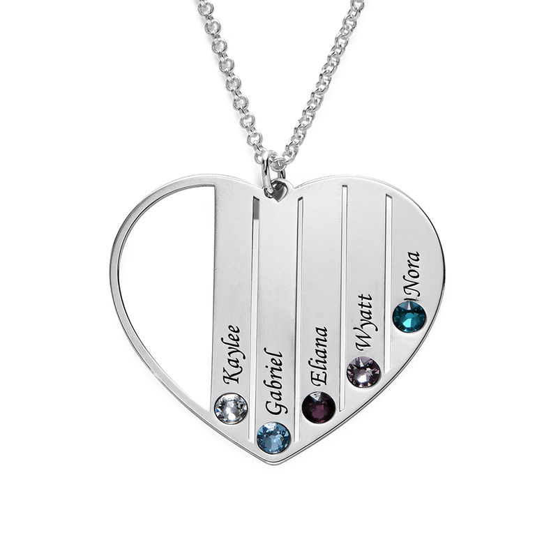 Mom Birthstone Necklace in Sterling Silver
