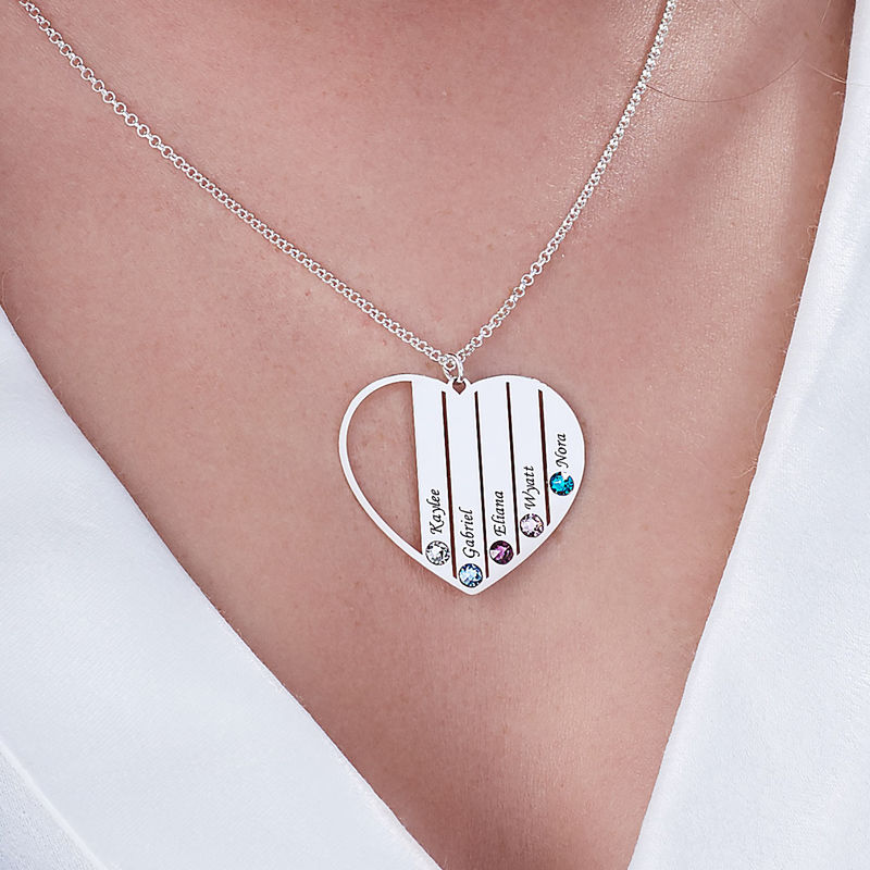 Mom Birthstone Necklace in Sterling Silver - 5