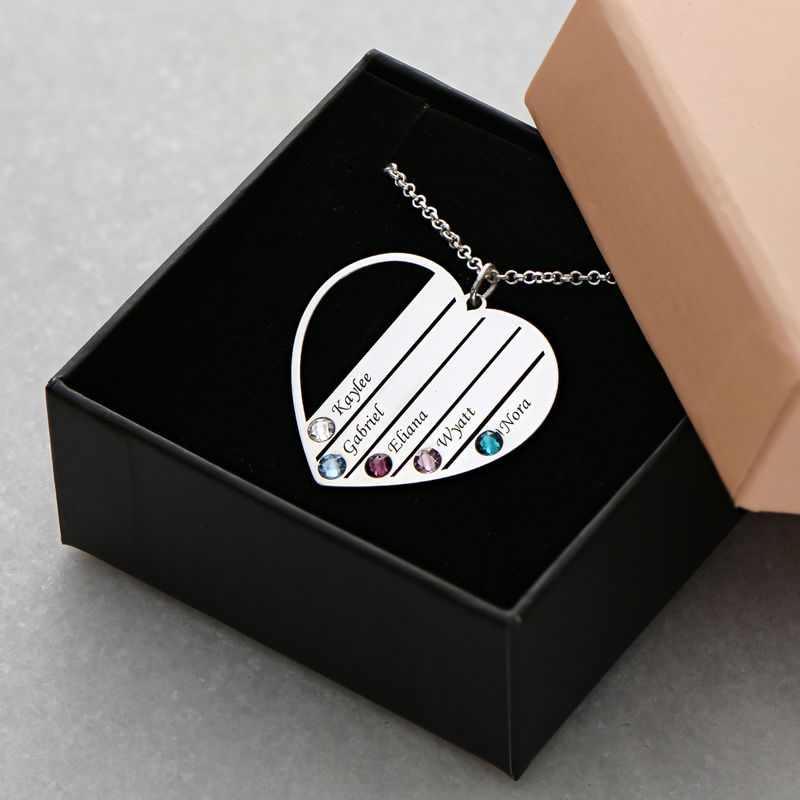 Mom Birthstone Necklace in Sterling Silver - 6
