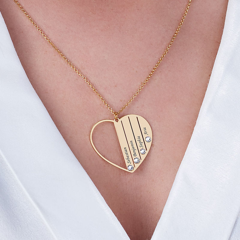 Mom Birthstone Necklace in Gold Plating - 5